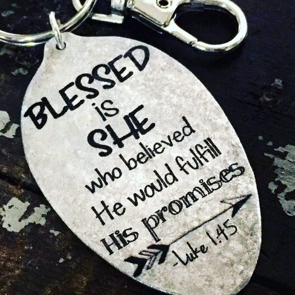 Spoon Keychain Blessed is She Luke 1 Kyleemae Designs