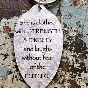 she is clothed in strength spoon keychain