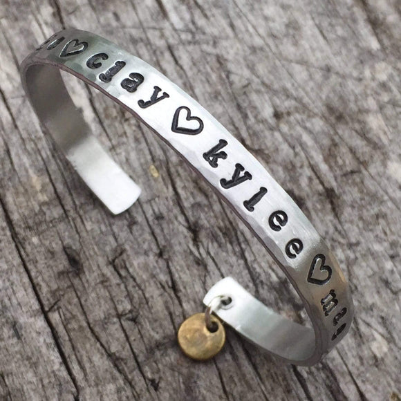 Mother's Bracelet, Personalized Hand Stamped Bracelet for Mom, Mother's Jewelry, Personalized Gift with Customization, Child's Name Bracelet