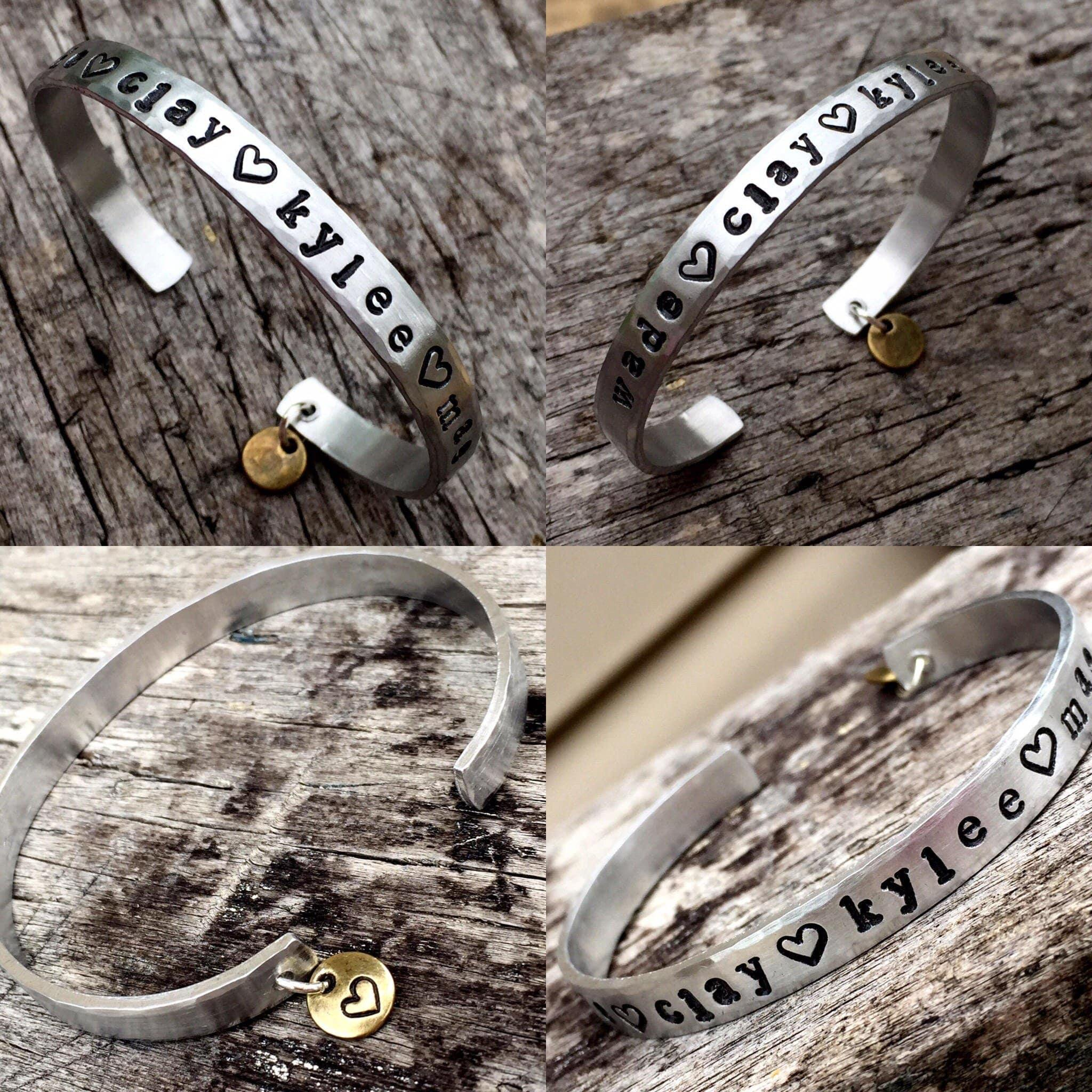 nana theres mother these day personalize mothers gift stole handstamped pin bracelet jewelry bangle my kids heart who