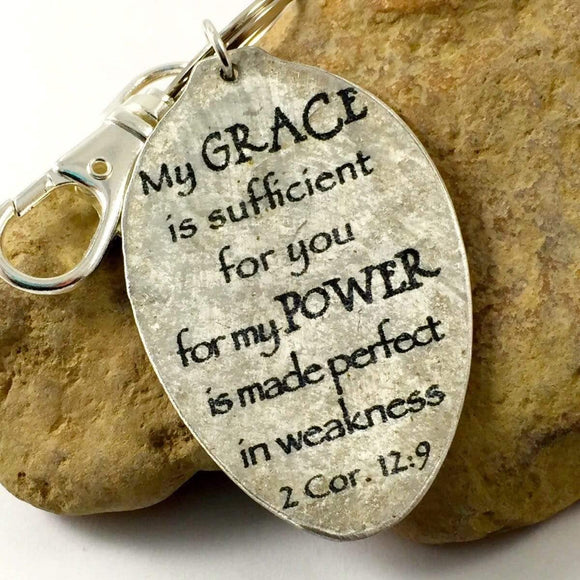 Scripture Keychain 2 Corinthians 12:9 My GRACE is sufficient for you for my Power is made perfect in weakness keychain, Religious Gift