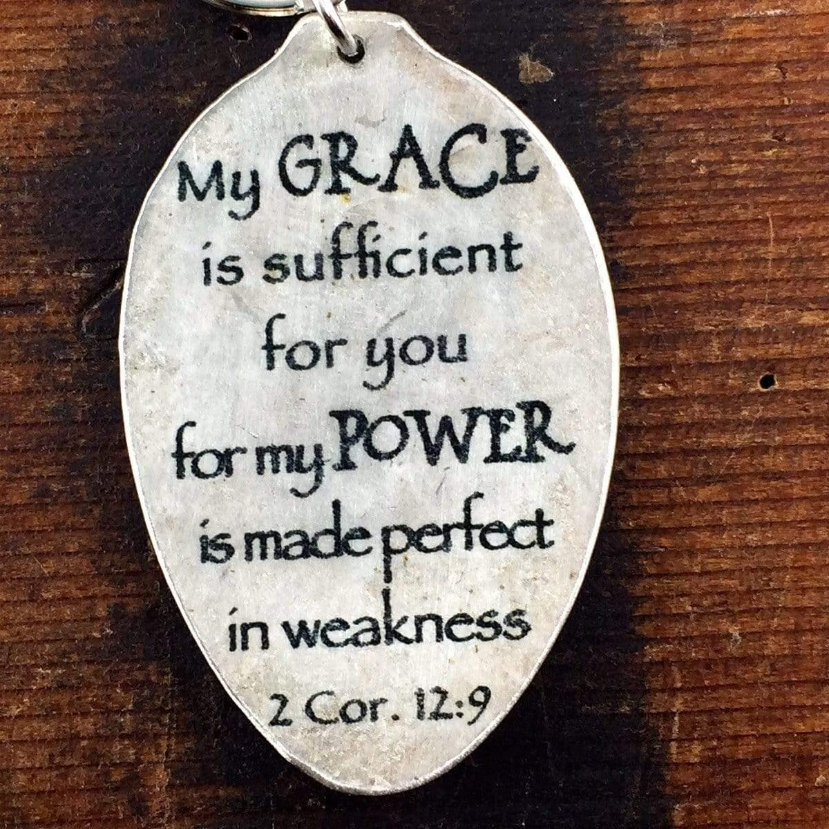 scripture keychain 2 cor. 12:9 by kyleemae designs