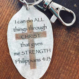 philippians 4:13 scripture spoon keychain by kyleemae designs