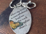 When my heart is overwhelmed, lead me to the rock that is higher than I, Psalm 61:2 Keychain, Scripture Keychain, Inspirational Accessory