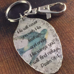 he will cover you Psalm 91:4 spoon keychain with sparrow image by kyleemae designs