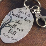 God is within her, She will not Fall Psalm 46:5 keychain, Christian Scripture Gift, Inspiring Jewelry Silverware Jewelry by Kyleemae Designs