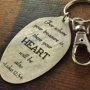 Luke 12:34 For where your treasure is, there your heart will be also Scripture Keychain