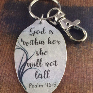God is within her front view keychain
