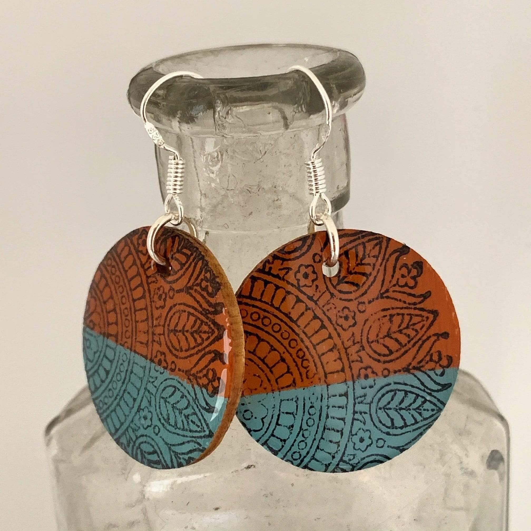 Orange and Turquoise Hand Painted Wood Earrings with Design