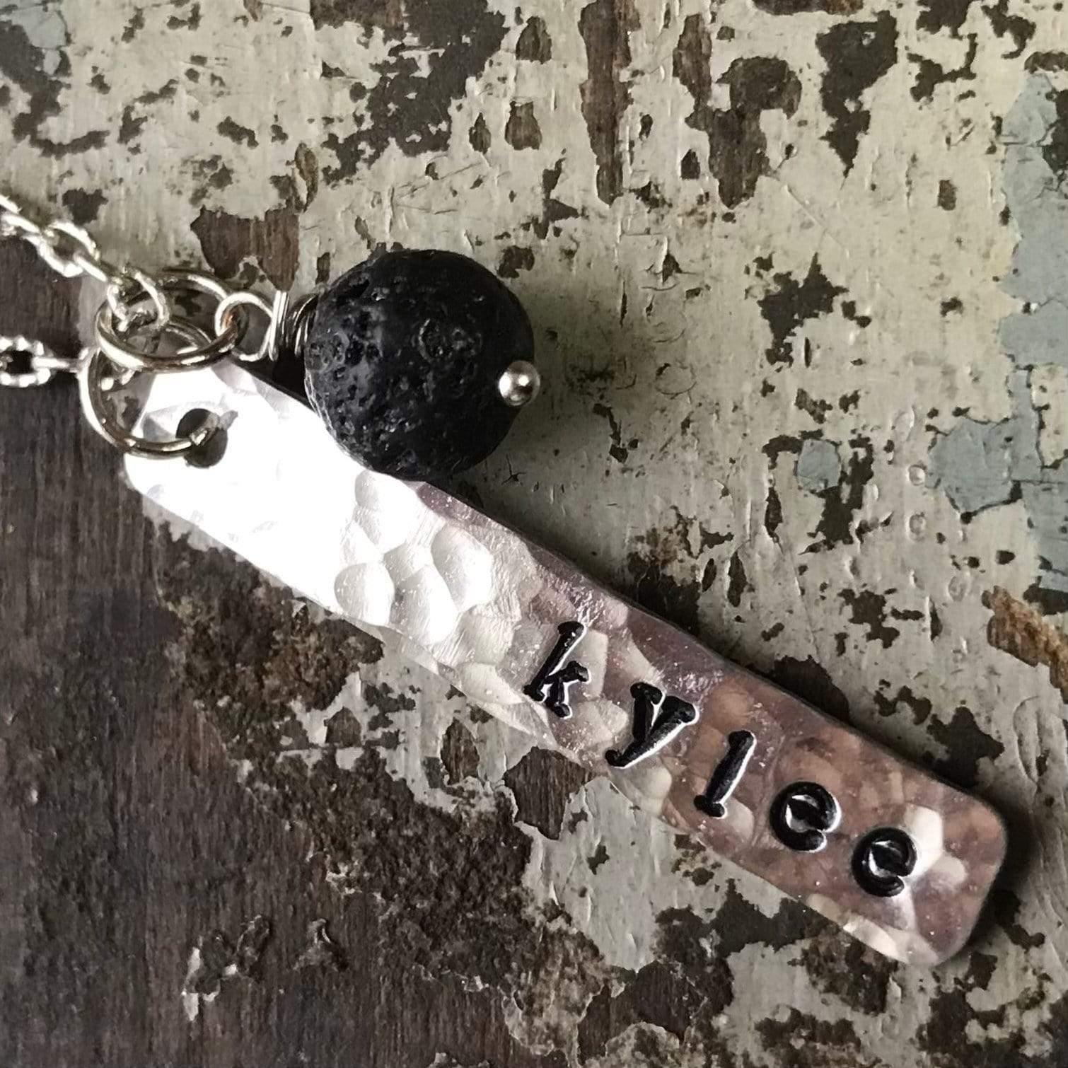 Personalized Name Necklace with Black Lava Bead Charm