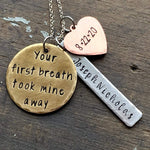 Your First Breath Took Mine Away Personalized Necklace, Gift for New Mom