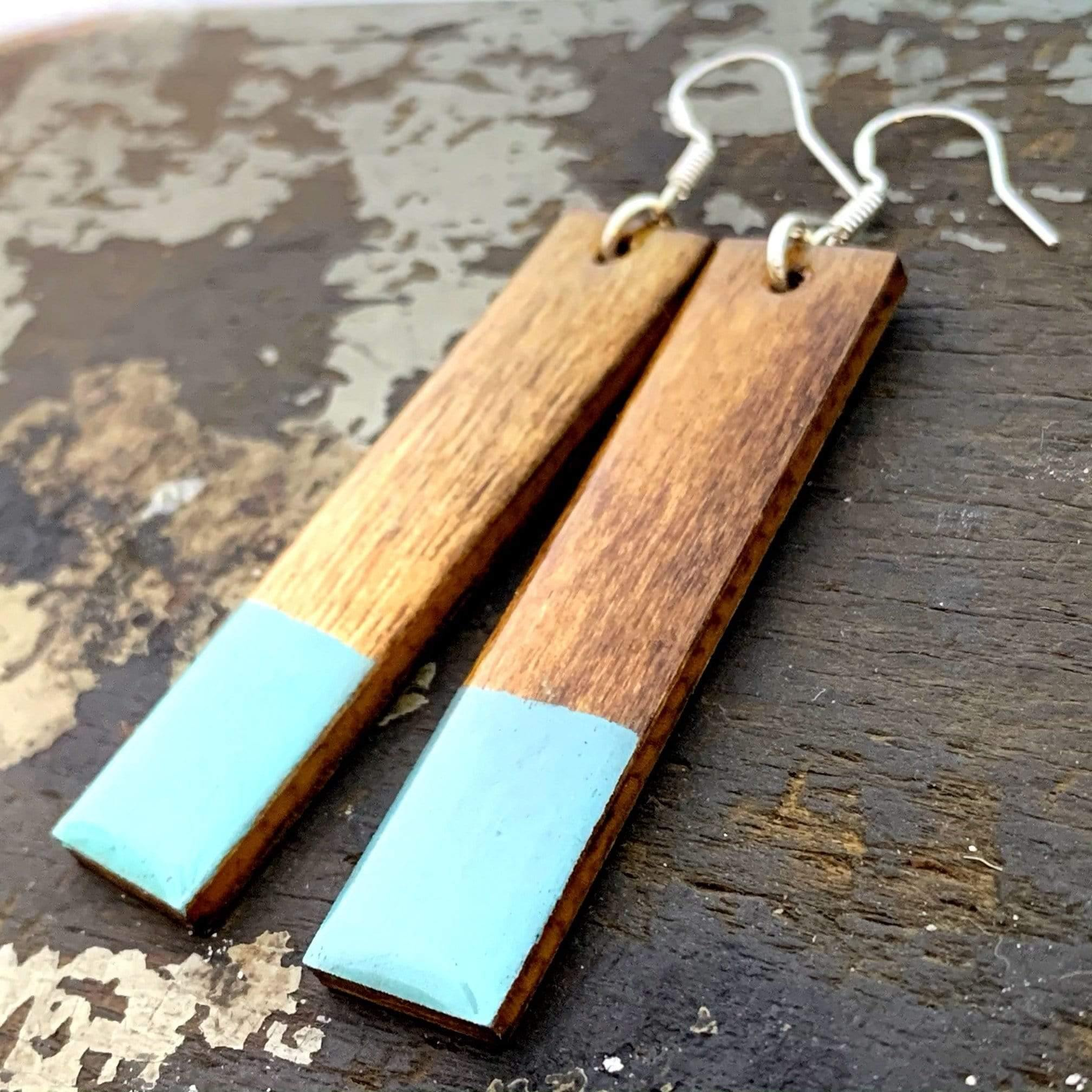 Long Earrings, Statement Earrings, Turquoise Hand Painted Wood Earrings