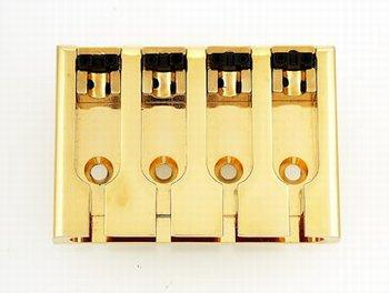 BB-3421 Adjustable 4-String Bass Bridge BOOHEUNG PRECISION CO., LTD Gold - HIENDGUITAR.COM