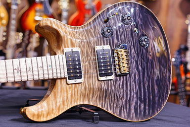 PRS Custom 24 piezo wood library Artist quilt  grey black fade 0270833