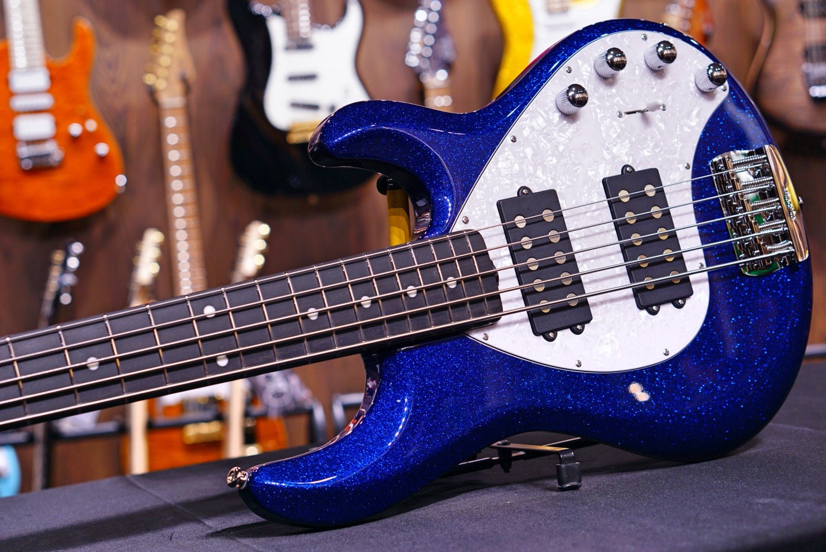Ernie Ball Music Man StingRay Special 5 HH Bass Guitar - Tectonic Blue Sparkle F90560 - HIENDGUITAR   Musicman bass