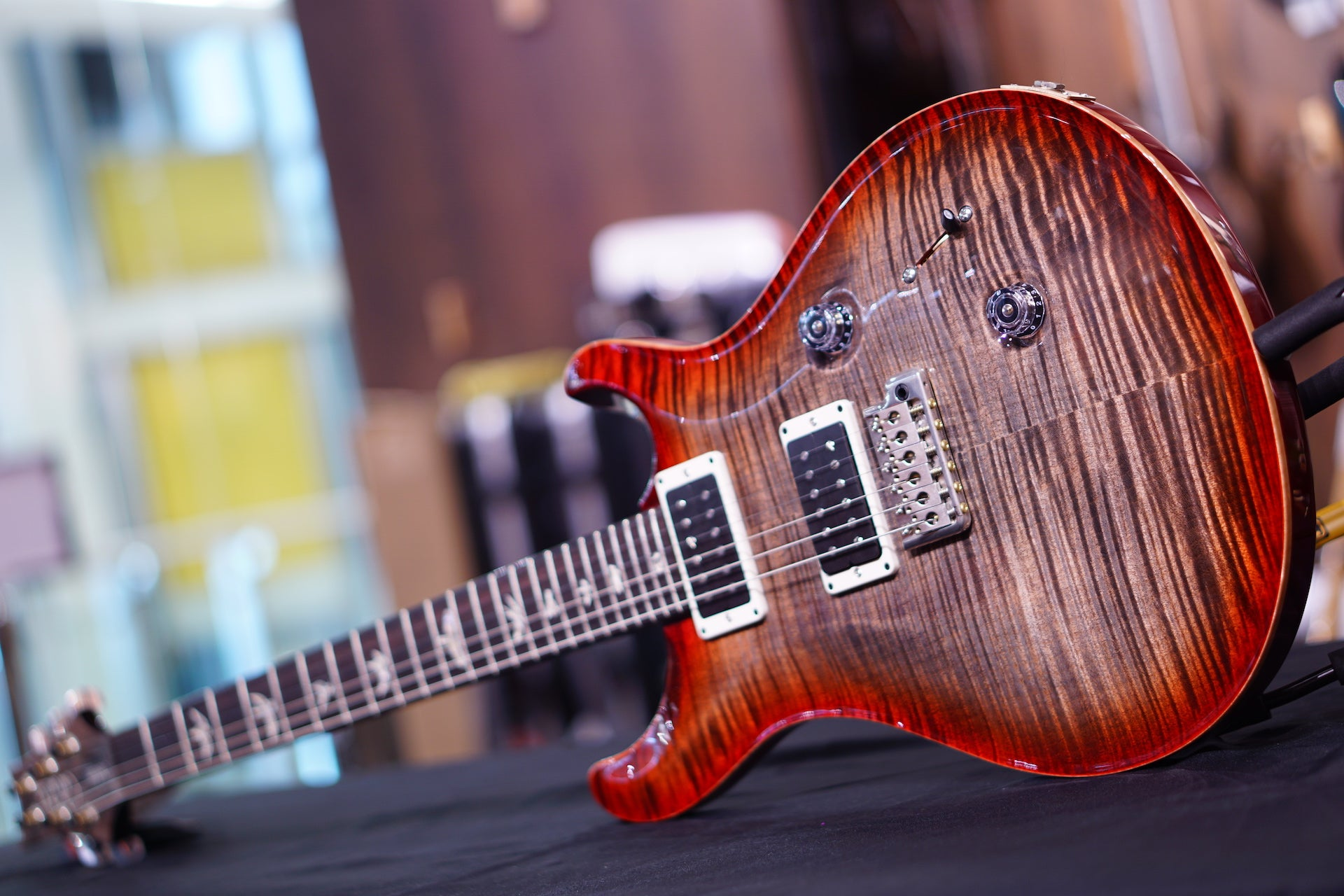 PRS Custom 24 Hiendspec 10top charcoal cherry flame neck 240759 PRS - HIENDGUITAR.COM