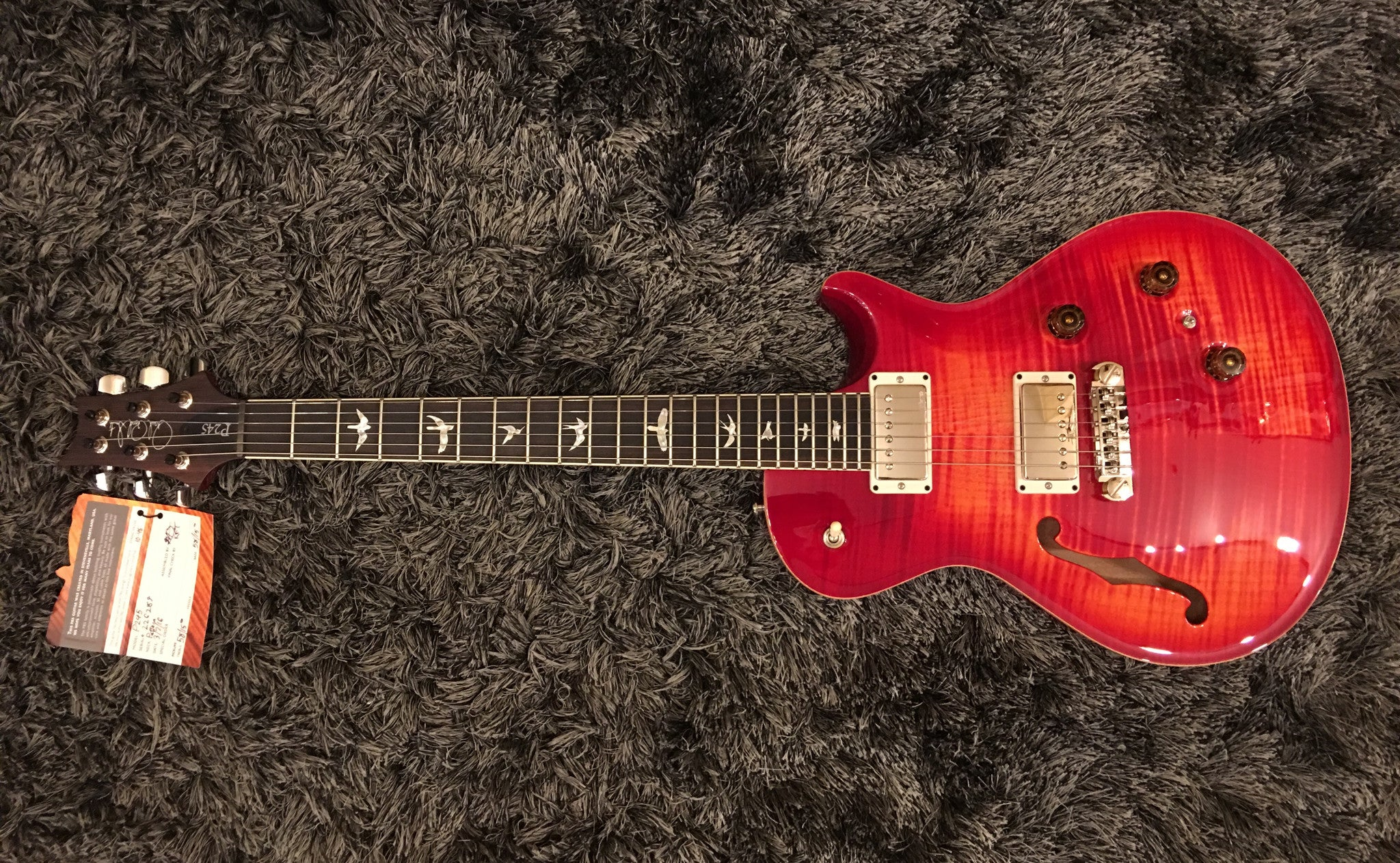 PRS P245 Semi-Hollow Blood orange HIENDGUITAR.COM - HIENDGUITAR.COM