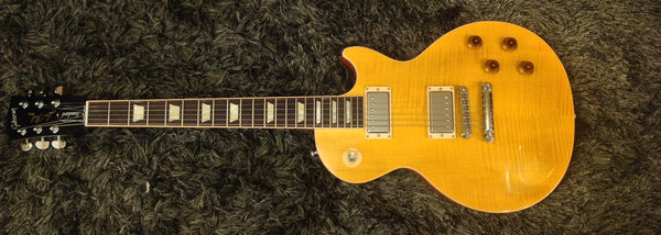 Gibson 2016 Les Paul Standard Plus Top T Electric Guitar (with Case), Transparent Amber