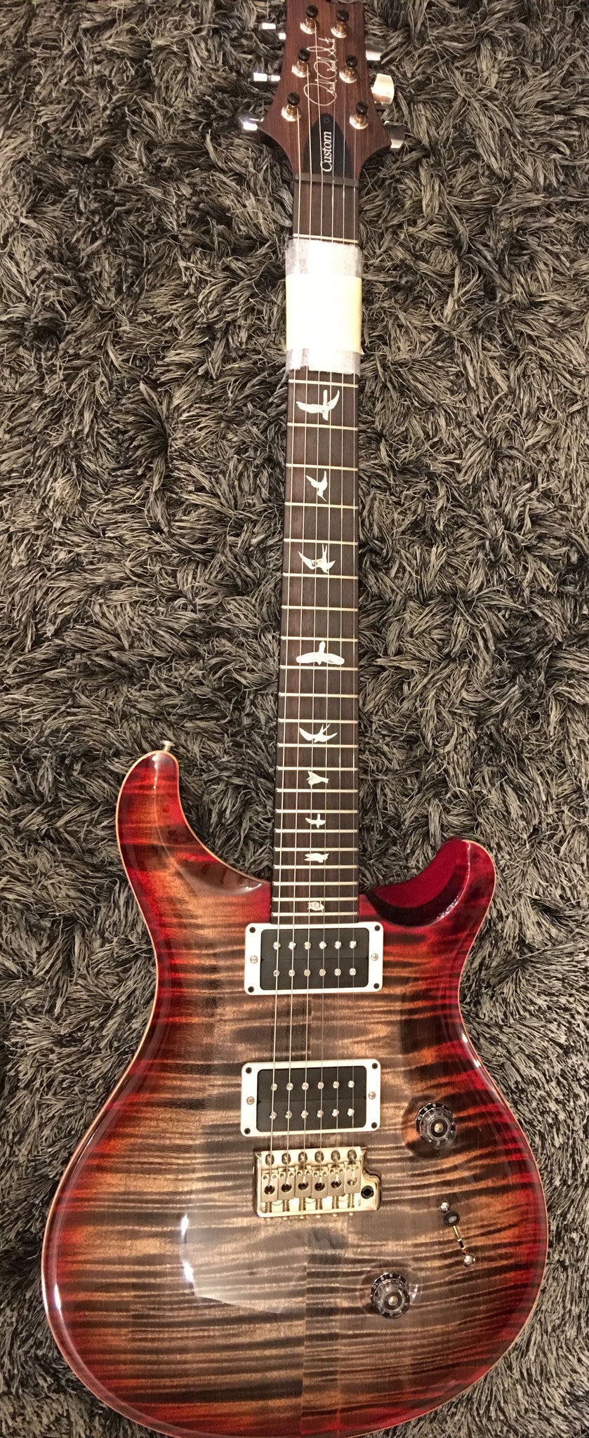 CUSTOM 24 10 TOP THIN STAINED MAPLE NECK CHARCOAL CHERRY BURST PRS - HIENDGUITAR.COM