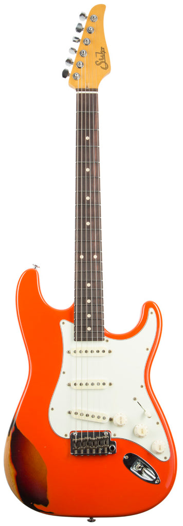 SUHR CLASSIC ANTIQUE FINISH OVER FINISH FIESTA ORANGE