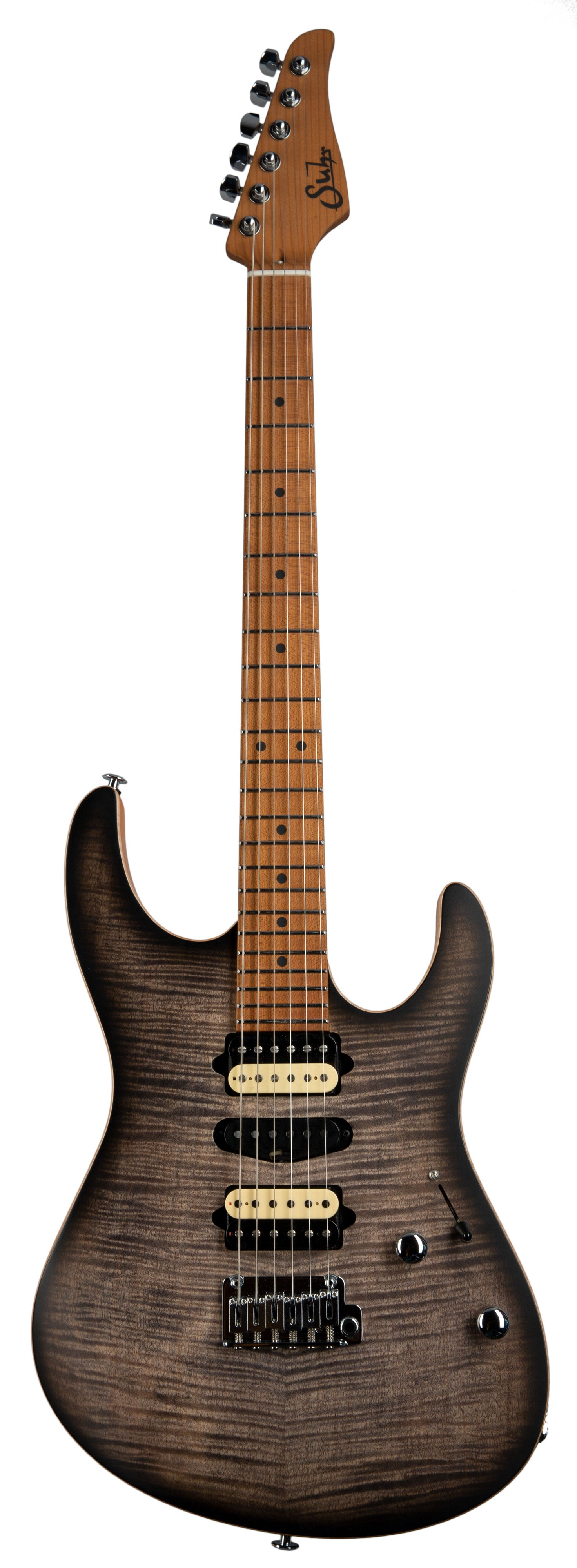 SUHR MODERN SATIN FLAME Satin Trans Charcoal Burst