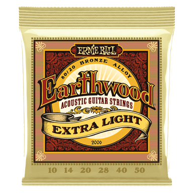 Ernie Ball Earthwood Extra Light 80/20 Bronze Acoustic Guitar Strings - 10-50 Gauge Ernieball - HIENDGUITAR.COM