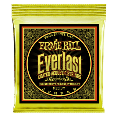 Ernie Ball Everlast Medium Coated 80/20 Bronze Acoustic Guitar Strings - 13-56 Gauge Ernieball - HIENDGUITAR.COM
