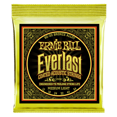 Ernie Ball Everlast Medium Light Coated 80/20 Bronze Acoustic Guitar Strings - 12-54 Gauge Ernieball - HIENDGUITAR.COM
