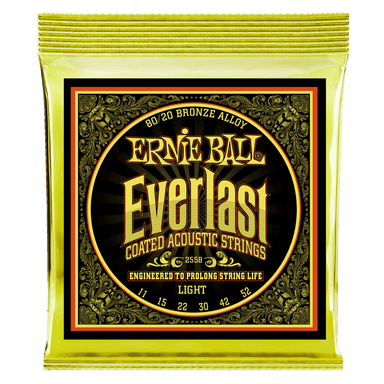 Ernie Ball Everlast Light Coated 80/20 Bronze Acoustic Guitar Strings - 11-52 Gauge Ernieball - HIENDGUITAR.COM