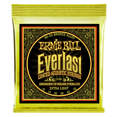 Ernie Ball Everlast Extra Light Coated 80/20 Bronze Acoustic - 10-50 Gauge Ernieball - HIENDGUITAR.COM