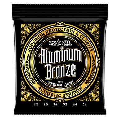Ernie Ball Medium Light Aluminum Bronze Acoustic Guitar Strings - 12-54 Gauge Ernieball - HIENDGUITAR.COM