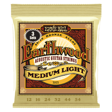 Ernie Ball Earthwood Medium Light 80/20 Bronze Acoustic Guitar Strings 3 Pack - 12-54 Gauge Ernieball - HIENDGUITAR.COM