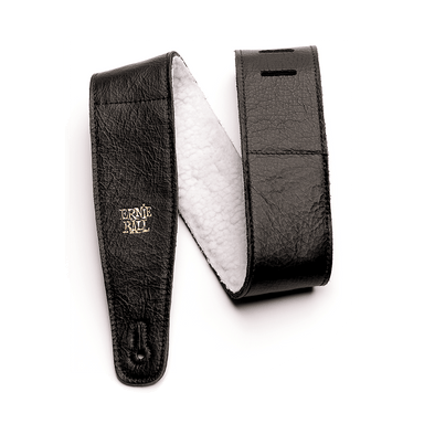 "Ernie Ball 2.5"" Adjustable Italian Leather Strap with Fur Padding - Black - HIENDGUITAR   Ernieball Straps"