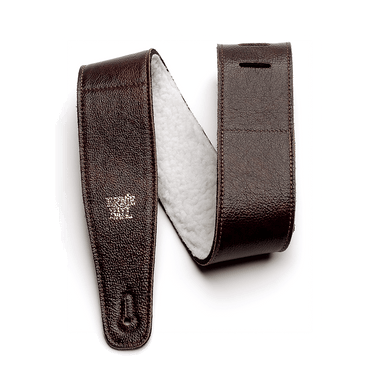 "Ernie Ball 2.5"" Adjustable Italian Leather Strap with Fur Padding - Chestnut - HIENDGUITAR   Ernieball Straps"