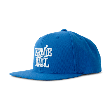 Ernie Ball Logo Hat Blue with White Stacked Logo Ernieball - HIENDGUITAR.COM