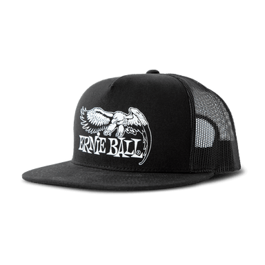 Ernie Ball Eagle Hat Black with Black Front and White Logo Ernieball - HIENDGUITAR.COM