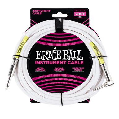 Ernie Ball 20' Straight / Angle Instrument Cable - White Ernieball - HIENDGUITAR.COM