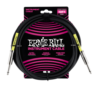 Ernie Ball 10' Straight / Straight Instrument Cable - Black Ernieball - HIENDGUITAR.COM
