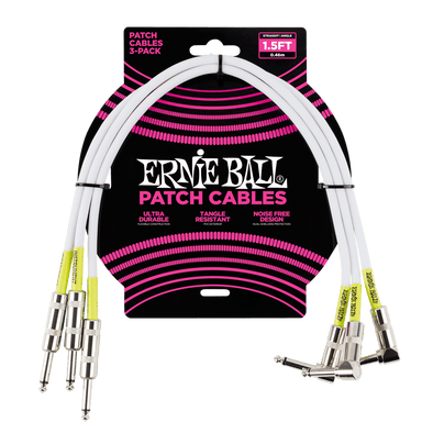 Ernie Ball 1.5' Straight / Angle Patch Cable 3-pack - White Ernieball - HIENDGUITAR.COM