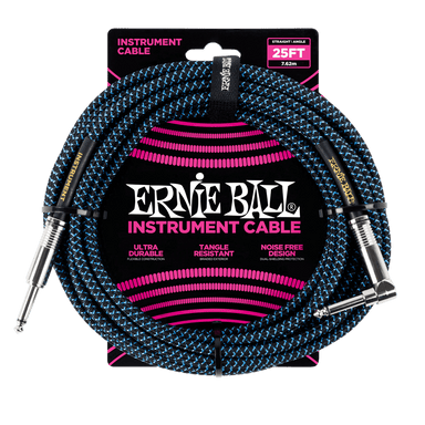 Ernie Ball 25' Braided Straight / Angle Instrument Cable - Black / Blue Ernieball - HIENDGUITAR.COM