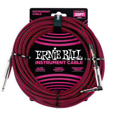 Ernie Ball 25' Braided Straight / Angle Instrument Cable - Black / Red Ernieball - HIENDGUITAR.COM