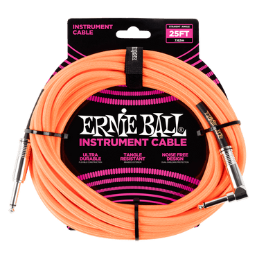 Ernie Ball 25' Braided Straight / Angle Instrument Cable - Neon Orange Ernieball - HIENDGUITAR.COM