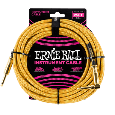 Ernie Ball 25' Braided Straight / Angle Instrument Cable - Gold / Gold Ernieball - HIENDGUITAR.COM