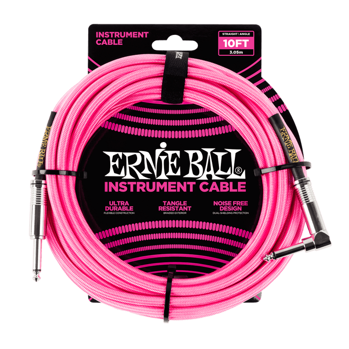 ernie ball 10 39 braided straight angle inst cable neon pink hiendguitar com. Black Bedroom Furniture Sets. Home Design Ideas