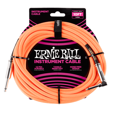 Ernie Ball 10' Braided Straight Angle Inst Cable Neon Orange Ernieball - HIENDGUITAR.COM