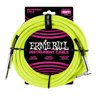 Ernie Ball 10' Instrument Cable, Neon Yellow Ernieball - HIENDGUITAR.COM