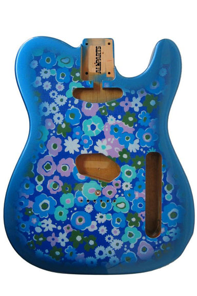 TBF-BF Blue Flower Finished Replacement Body for Tele® TOKIWA - HIENDGUITAR.COM