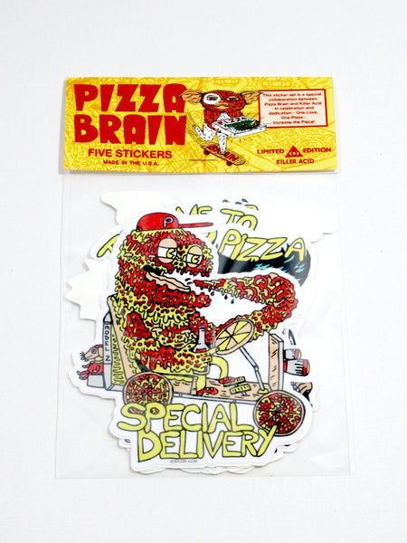 Killer Acid Pizza Brain Sticker Pack