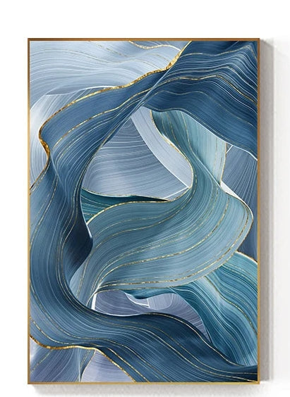 Modern Abstract Blue Gold Foil Canvas Art - Mia & Stitch
