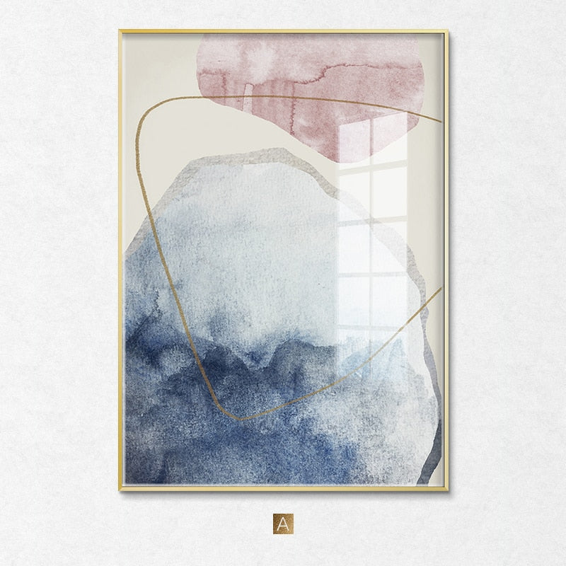 Abstract Blue watercolor Canvas Print Paintings Golden lines Poster Nordic Wall Art Pictures on Canvas Living Room Home Decor - Mia & Stitch